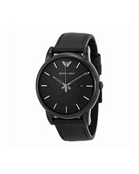Emporio Armani Polished Black Stainless Steel Men's Watch W/smooth Leather Strap for men