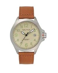 Nautica Glen Park Stainless Steel Japanese-quartz Leather Strap, Brown, 22 Casual Watch (model: Napglp003 for men