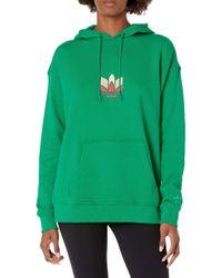 Adidas Originals Womens 3d Trefoil Hoodie Green/multicolor Small