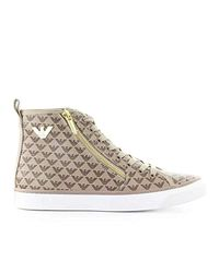 Emporio Armani Natural Luxury Fashion X3Z017XM066R548 Beige Hi Top Sneakers | Herbst Winter 19