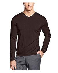 Calvin Klein - Merino Solid Pullover Sweater Brown M for Men - Lyst