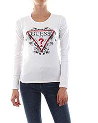 Ls CN Roses Tee T-Shirt Guess en coloris White