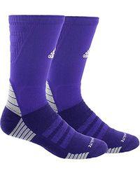 Adidas Alphaskin Maximum Cushioned Crew Socks (1-pack), Collegiate Purple/white/light Onix, 5-8.5 for men