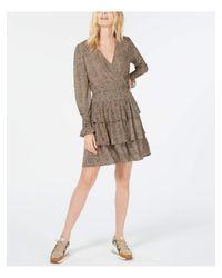 Michael Kors S Brown Leopard Print Long Sleeve V Neck Above The Knee Layered Evening Dress Petites