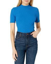 Joanna T-shirt côtelé à col montant et manches courtes The Drop en coloris Blue