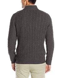 Izod - Gray Cable Solid 1/4 Zip Sweater for Men - Lyst