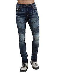 True Religion Blue Moto Rocco Skinny Fit Stretch Jeans In Mineral Asphalt for men
