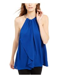 Michael Kors S Blue Solid Sleeveless Keyhole Party Top