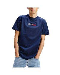 Tommy Hilfiger Box Logo TH T-Shirt Blu da Uomo DM0DM07868-C87 di Tommy Hilfiger in Blue da Uomo