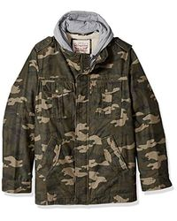 Levi's Green Washed Cotton Hooded Military Jacket for men