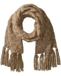 Nautica Multicolor Basket Weave Knit Oblong Scarf With Self Knot Fringe