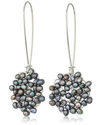 Kenneth Cole Gray S Woven Drop Earrings, Grey, One Size