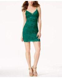 Guess S Green Floral Spaghetti Strap V Neck Mini Body Con Dress Size: Xl
