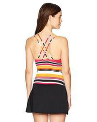Nautica - Red Coastline Stripe Cross Back Swimdress One Piece Swimsuit - Lyst