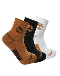 Timberland Multicolor 3-pack Yellow Boot Shortie Half Cushioned Quarter Socks for men