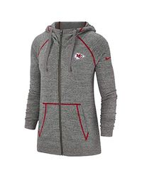 Nike Gray Gym Vintage (nfl Chiefs) Full-zip Hoodie Size L (carbon Heather)