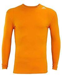 Adidas Orange Tech Fit Base Long Sleeve Shirt for men