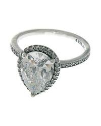 Radiant Teardrop Ring, Sterling Silver, Clear Cubic Zirconia Pandora en coloris Metallic