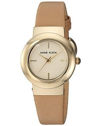 Anne Klein Metallic Gold-tone And Tan Leather Strap Watch