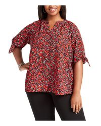 Michael Kors S Red Printed Short Sleeve Keyhole Blouse Top Plus