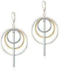 Nine West Metallic Tri-tone Orbital Drop Earrings