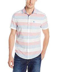 Original Penguin - White Horizontal Stripe Short Sleeve Woven Shirt Slim Fit for Men - Lyst