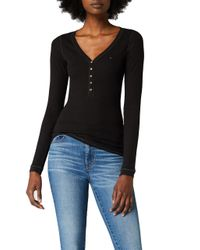 Tommy Hilfiger Black Original Rib Henley Long Sleeve Button Front T-shirt