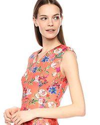 Calvin Klein Multicolor Sleeveless Printed Sheath With V Neckline Dress