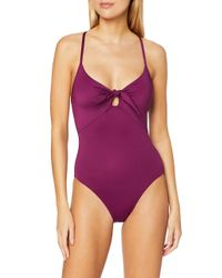Seafolly Purple Tie Front Sweetheart Maillot Badeanzug Violett Boysenberry)