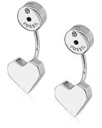 Fossil - Metallic Heart Ear Jackets Drop Earrings - Lyst
