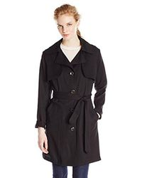 Vince Camuto Black Single-breasted Trench Coat
