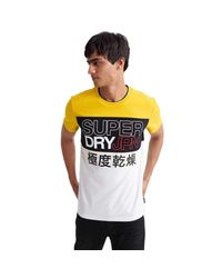 Crafted Print Colour Block T-Shirt Autumn Ochre S Superdry pour homme en coloris Multicolor