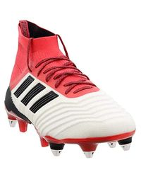 S Predator 18.1 Soft Ground Soccer Casual Cleats, Red;White Adidas pour homme