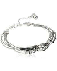 """Kenneth Cole - Metallic Pave Mixed Two-tone Bead Multi-row Bracelet, 7"""" + 2"""" Extender - Lyst"""