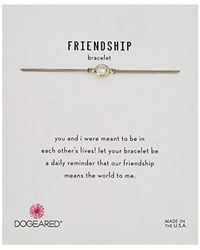 """Dogeared - Metallic Friendship Crystal On Pebble Cord Bracelet, Gold Dipped, 9"""" - Lyst"""