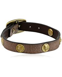 "Frye - Gray Unisex Stud Soft Vintage Leather Wrap Cuff Bracelet, 13.25"" + 4.5"" Extender - Lyst"