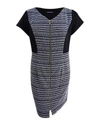 Ellen Tracy Plus Size S Striped Tweed Black And White Dress