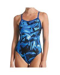Nike Blue Twisted Break Racerback One Piece Swimsuit
