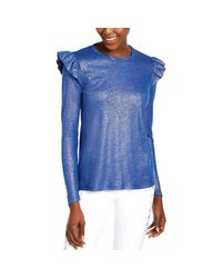 Michael Kors S Blue Ruffled Metallic Long Sleeve Jewel Neck Top