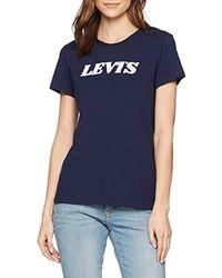 The Perfect Tee, T-Shirt Donna, Blu (Stripe Logo Maritime Blue 0465), X-Small di Levi's