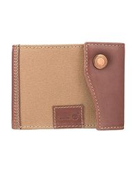 Timberland Leather And Cotton Wallet Brown And Beige for men