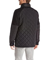 Vince Camuto - Black Quilted Mixed-media Jacket for Men - Lyst