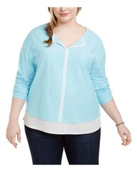 Tommy Hilfiger S Light Blue Layered Heather Long Sleeve V Neck Tunic Wear To Work Top Plus Uk