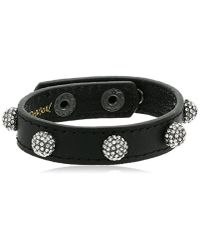 """Betsey Johnson Multicolor """"you Give Me Butterflies"""" Crystal Fireball Leather Snap Bracelet, 8"""""""
