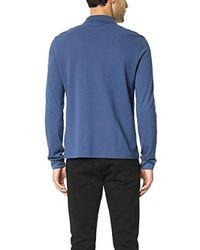 Lacoste Blue Long Sleeve Classic Pique L.12.12 Original Fit Polo Shirt for men