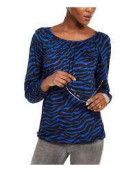 Michael Kors S Blue Zebra Print 3/4 Sleeve Jewel Neck Top Uk