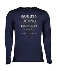 Guess Blue Jeans M73i54i3z00 T-shirt Long Sleeves for men