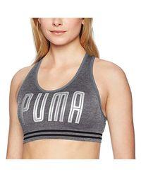 PUMA Gray Seamless Sports Bra, Heather Grey, L