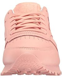 Reebok Pink Classic Lthr Pastels Running Shoe
