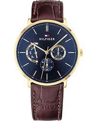 Cadrans Quartz Montres bracelet avec bracelet en Cuir - Tommy Hilfiger pour homme en coloris Blue
